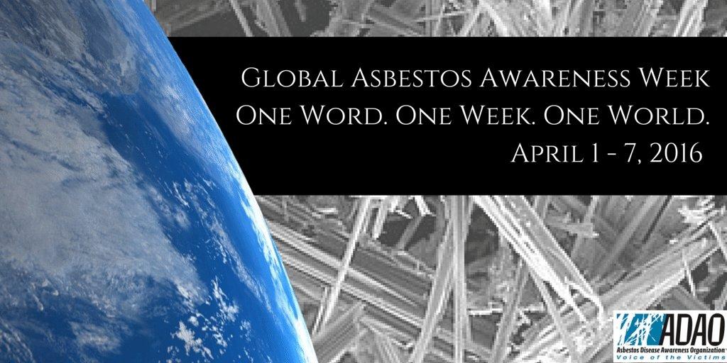 "Global #Asbestos Awareness Week - April 1 - 7. ""Hear Asbestos. Think Prevention."" #GAAW #Mesothelioma https://t.co/lugaYyxqGh"