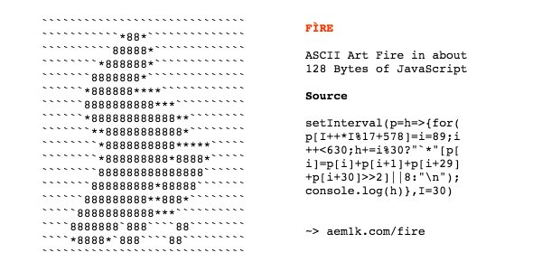 FÌRE  An ASCII art fire animation in ~128 bytes of JavaScript: →  https://t.co/6U1W8xELEf