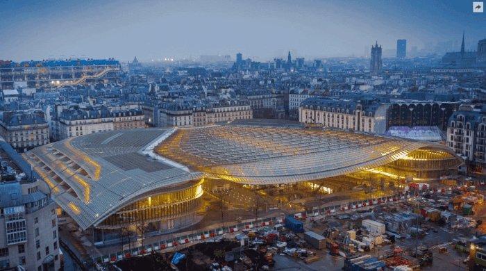 Les Halles de @Paris vues de Saint-Eustache, 1852 - 2016 https://t.co/vf5apnlPwc, un #GallicaGif de @GuillaumeGodet https://t.co/YjUf7GuAt7