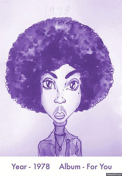 #RIPPrince   All his magnificent hairstyles--sketched by Gary Card of @TheBeatJuice. https://t.co/i4OrfQjOY8