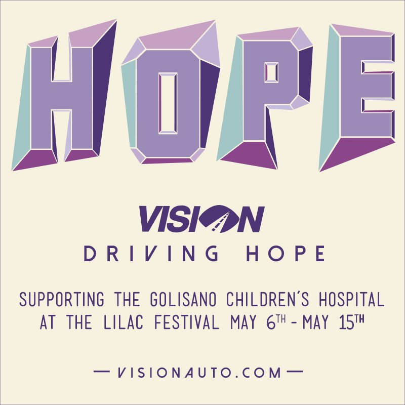 #VisionDrivingHope  Help us Help the Children of the Golisano Children's Hospital during the lilac festival! https://t.co/VlizjYeAcv