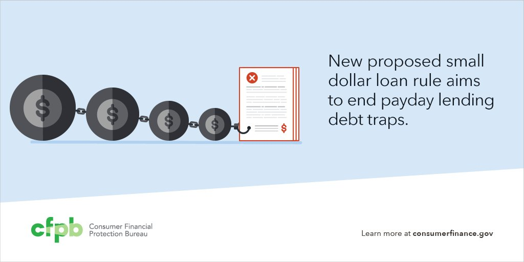 Our new proposed small dollar loan rule aims to #EndDebtTraps w/payday loans. Read more: https://t.co/UdLyFvfXIE https://t.co/bSV5U8I4HR