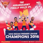 Congratulations @SunRisers, youve officially ruled the #IPL! This is legendary! #IPLfinal #RCBvSRH #BajaateRaho https://t.co/ijztgwz9oF