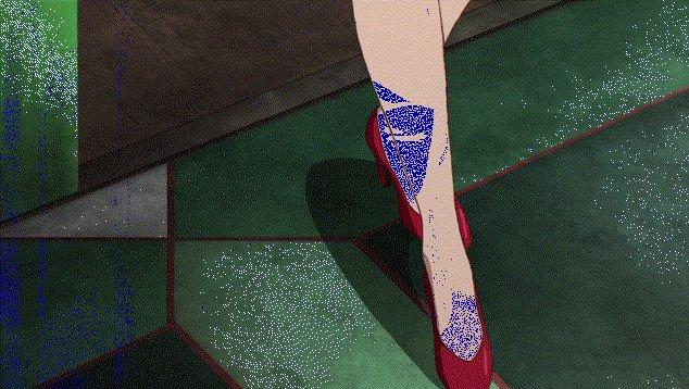 14話でのアイーダのステップ。ザンクトポルトのブティックでドレスを新調し、得意げな気持ちを表現したものでしょうか。こちら