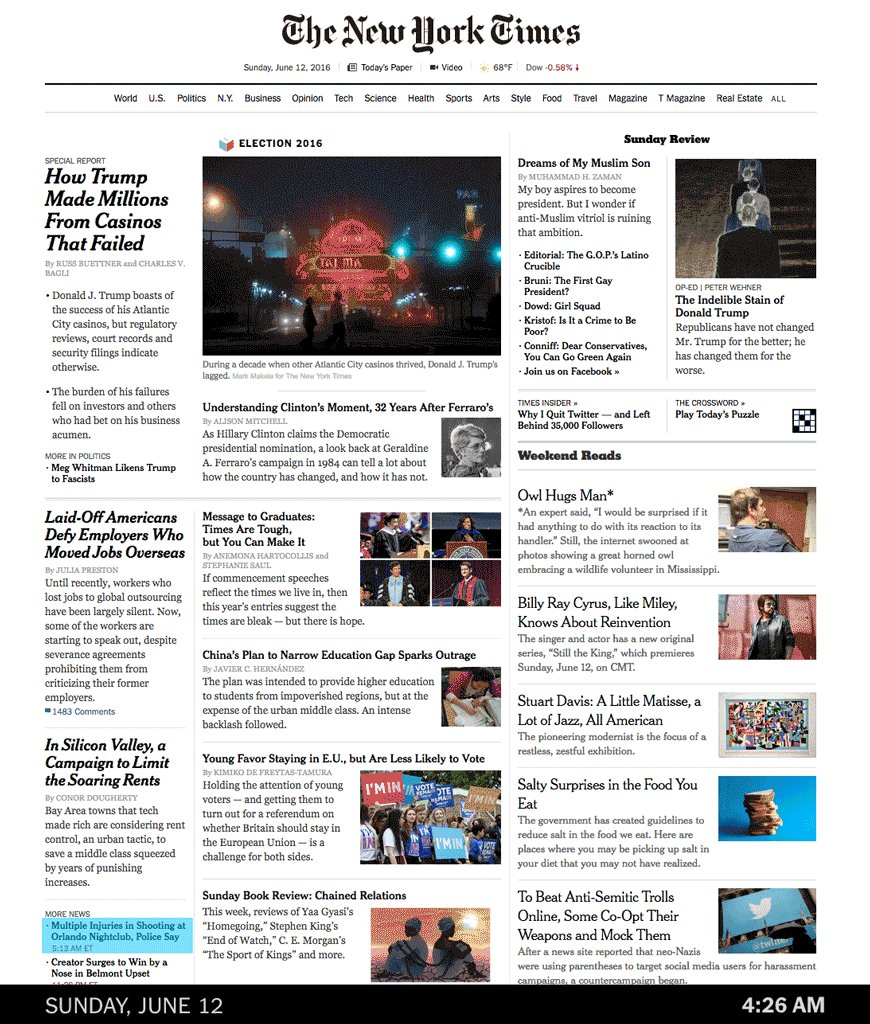 The evolution of The New York Times's homepage conveys the mounting horror of the Orlando shooting https://t.co/NsMjvDHLuF