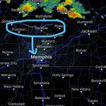 Current outflow(circled) will reach Shelby County and #Memphis metro packing 40+MPH winds#tnwx https://t.co/E2eQuwI9Lc