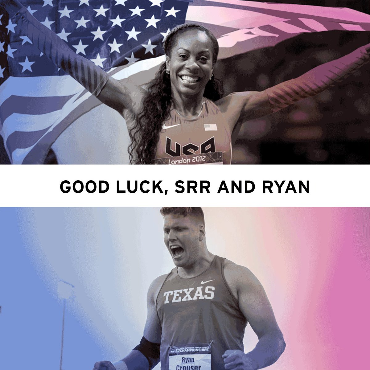 Best of luck to Texas alumni @SanyaRichiRoss & @RCrouserThrows as they compete in the T&F Olympic Trials tomorrow. https://t.co/y98fBk9T1W