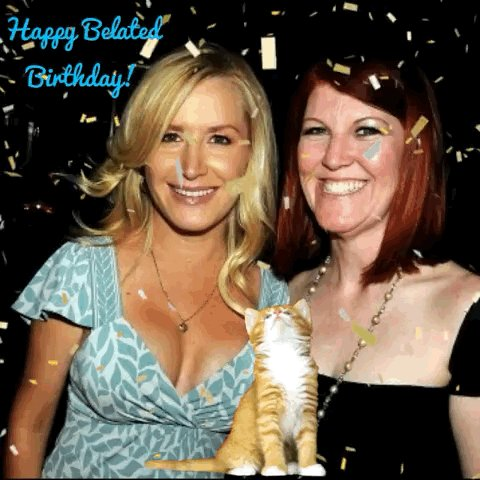 Happy Belated Birthday @AngelaKinsey to make up for my delay I made us a gif party and added a kitten!! Xo https://t.co/cgnRW1tSEr