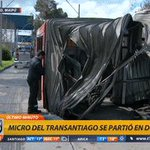 📱 #T13Móvil | @miguelacuna13 y más detalles del bus transantiago que se partió en dos https://t.co/xz7FAG5AUH https://t.co/Eyr2uspi4G
