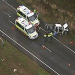 Heavy delays expected sbound on Bruce Hwy, nth of Brisbane, after 3 car crash. Vision via @chopperdaveqld  @abcnews https://t.co/0FqQNommjR
