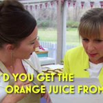"Today Mel learns that oranges can be squeezed to obtain what is commonly known as ""orange juice"". #GBBO #fruitfact 🍊 https://t.co/QAdWIrviHT"