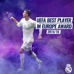 🔝☝🏆 Félicitation @Cristiano, pour avoir été élu Meilleur Joueur en Europe 2015/16! 💪 #RMUCL #HalaMadrid https://t.co/0bYz8GYBFX