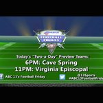 Its our last day of #ABC13FootballFriday Two-a-Day previews! We wrap with Cave Spring at 6, @VES_Bishops at 11! https://t.co/DjBxXAX16B