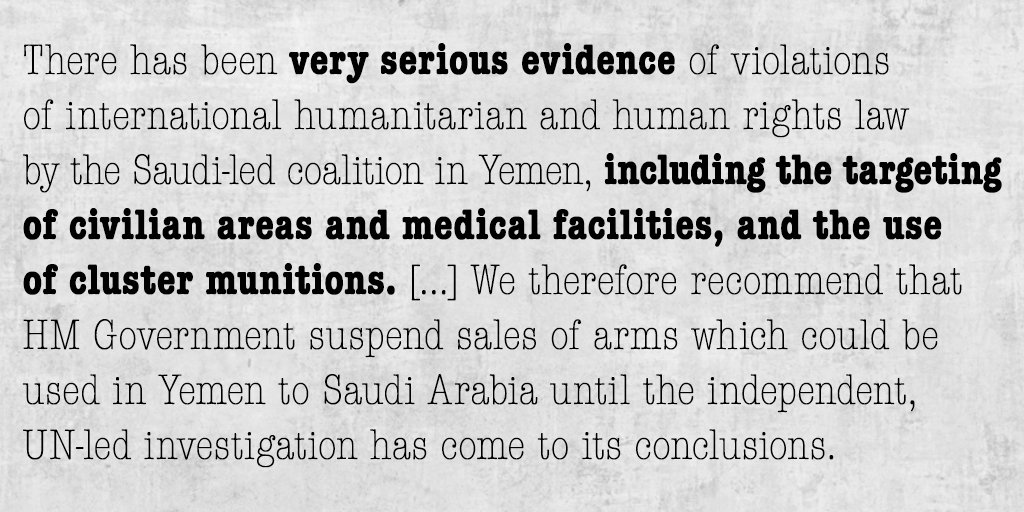 Anatomy of (an attempted) whitewash: here's how MPs' report on UK arms sales to Saudi changes if amendments accepted https://t.co/4NfsmaPinR