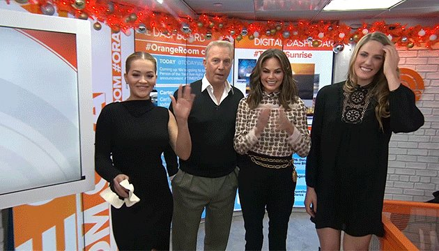 RT @TODAYshow: Look who we have in the #OrangeRoom! Hey @RitaOra, #KevinCostner, @chrissyteigen and @missyfranklin! https://t.co/U4AYkIpjLw