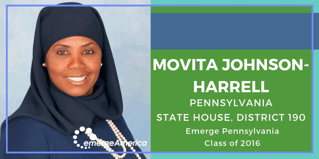 Congratulations to gun violence prevention advocate and @Emerge_PA alum @movitajh on winning her race for the Pennsylvania State House, District 190. She just made history as the first Muslim woman elected to the Pennsylvania State House! #EmergeNow #EmergeWorks https://t.co/arzDvZS72f