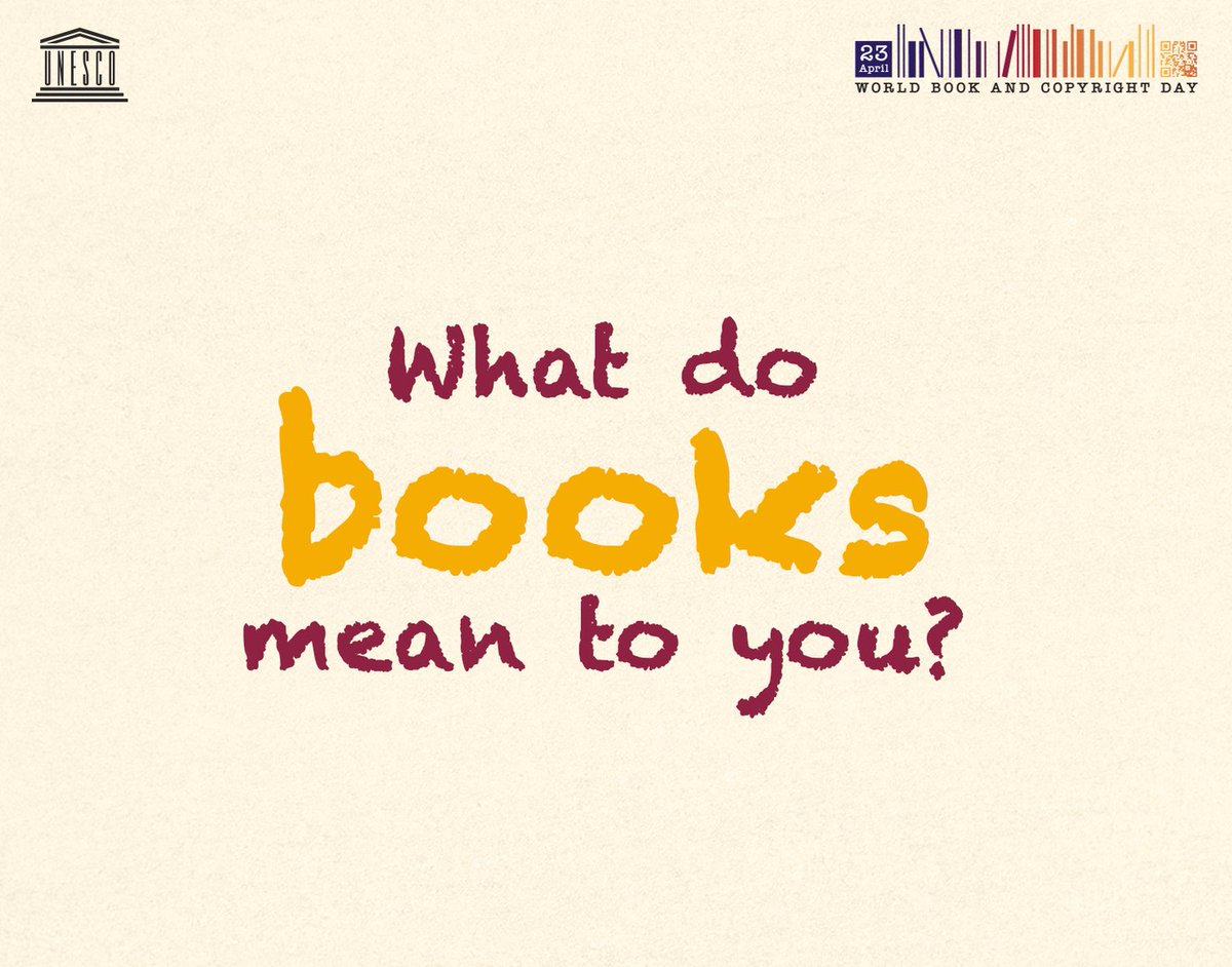 RT @UNESCO: Join #WorldBookDay📚 celebrations! 🙂  You tell us, what do books mean to you?  ℹ️https://t.co/MjMQG6JGxW https://t.co/9F4QeQIoCW