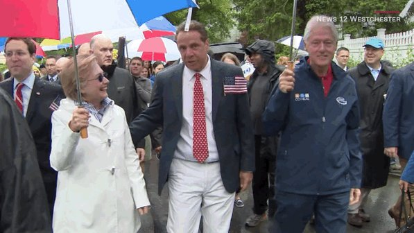 Bill and Hillary Clinton walked in a Memorial Day parade in Chappaqua, New York