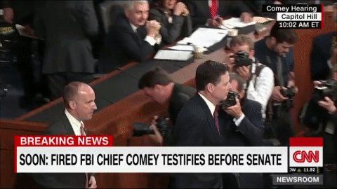 JUST IN: Fired FBI Director James Comey arrives for Senate testimony. Follow it live
