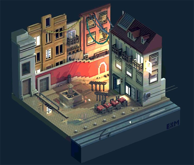 Animated view of Lisbon. #magicavoxel #voxelart https://t.co/WdvU6CPNhs
