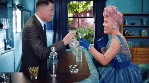 Channing Tatum is featured in Pink's Beautiful Trauma music video and we'll cheers to that.