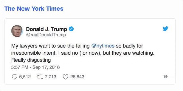 10 times Donald Trump has raised the possibility of lawsuits on Twitter