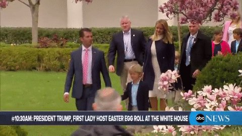 Donald Trump Jr. arrives at the White House Easter Egg Roll.