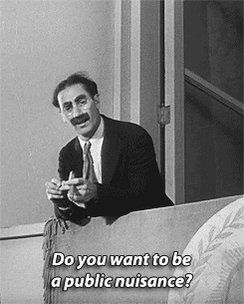 #Groucho: Do you want to be a public nuisance? #Chico: Sure. How much does the job pay.#DuckSoup 1933 https://t.co/htVlwI3U3l