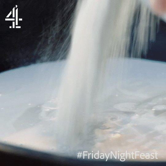 One tin of coconut milk to two heaped tins of self-raising flour. https://t.co/9XPYFZTyiq