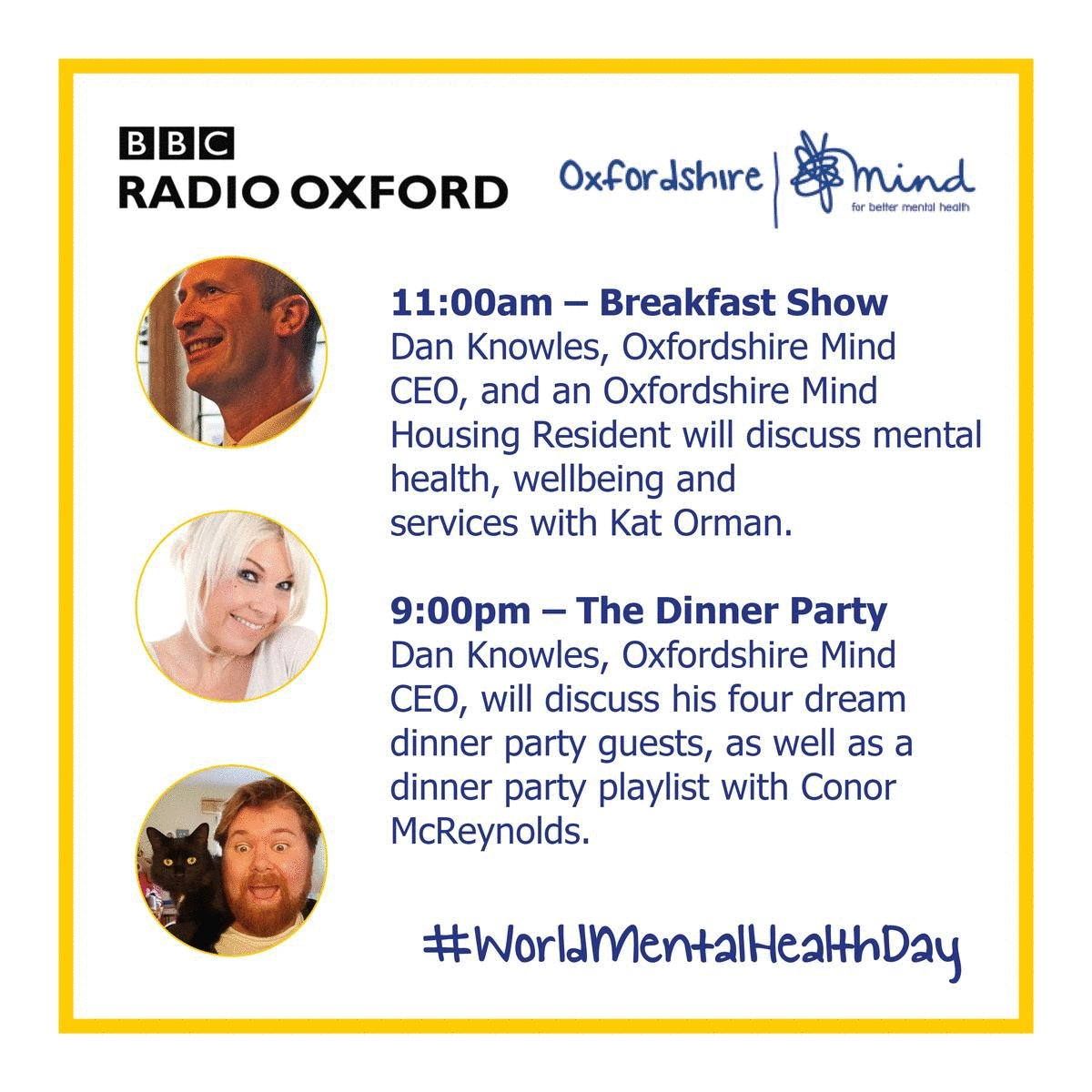 RT @OxfordshireMind: #WorldMentalHealthDay is tomorrow are we are proud to be hosting a variety of events throughout the day.  Information on all of tomorrow's activities 👉  @KatOrman @bbcoxford @justconor87