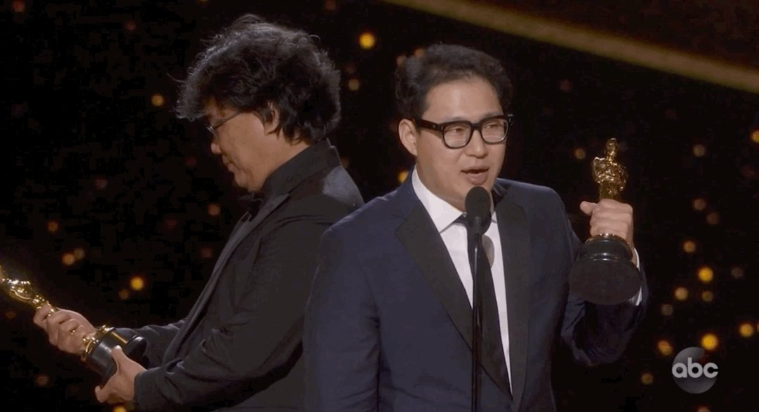 This GIF of Bong Joon-ho looking at his Oscar is the most pure thing I've ever seen