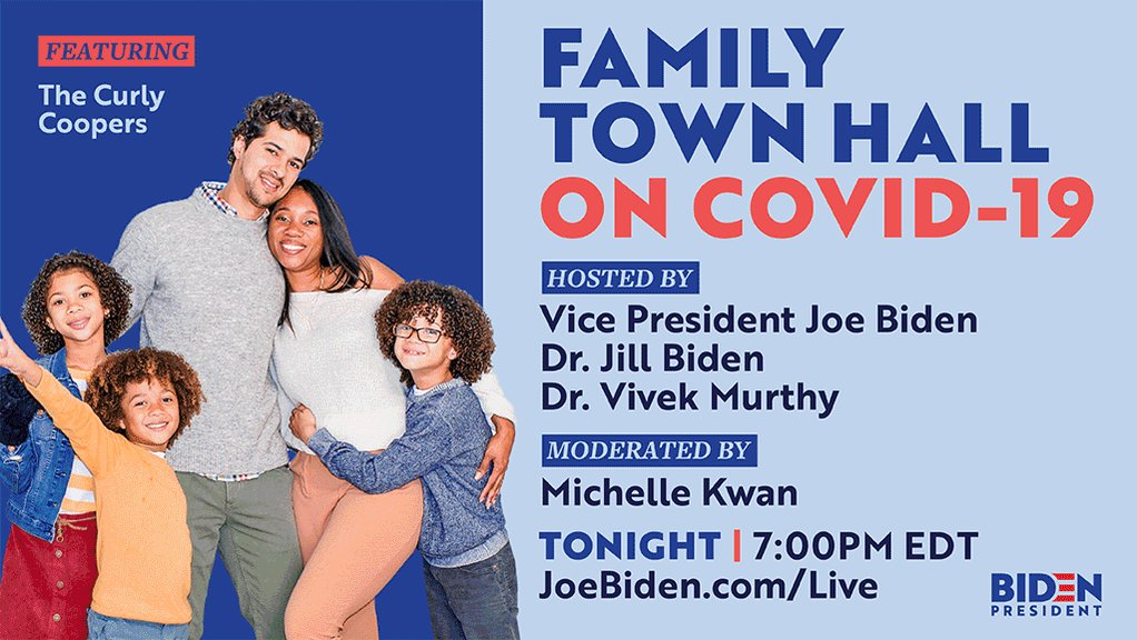 We all want to protect our families — the first step is arming ourselves with the facts.   @DrBiden and I hosted a town hall on COVID-19 with three family YouTubers: ItsJudysLife, J House Vlogs and The Curly Coopers. Tune in tonight at 7PM EDT: