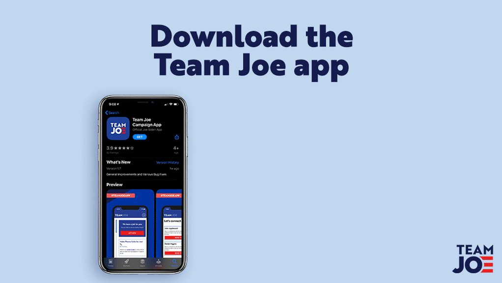 Nothing makes us APP-ier than seeing folks spread our campaign's message to their contacts by using the #TeamJoe app!   Text APP to 30330 and download today. 📲