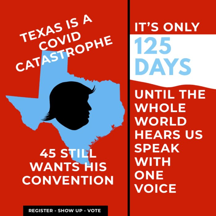 As long as he appears before a live studio audience, 45 is good with sacrificing every single Texas #CovidConference attendee after his narcissistic need for adoration is satisfied.  Testing's a debacle. ICUs are at capacity.  It's not #DieForTheDow, it's #DieForTheDonald  #ONEV1