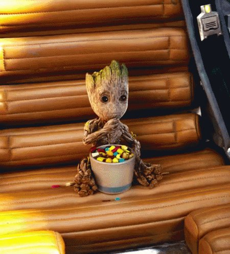 @JamesGunn - My 7-year old has concluded that the pot Baby Groot is eating his candy out of right here is the same one he was growing in.  Is she right? :)