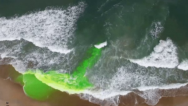 Rip currents flow directly away from the beach - as indicated by the green dye in this GIF - and can travel up to 5.5mph. That's faster than an Olympic swimmer!   Swim *along* to the beach instead of against the current, to break the grip of the rip!