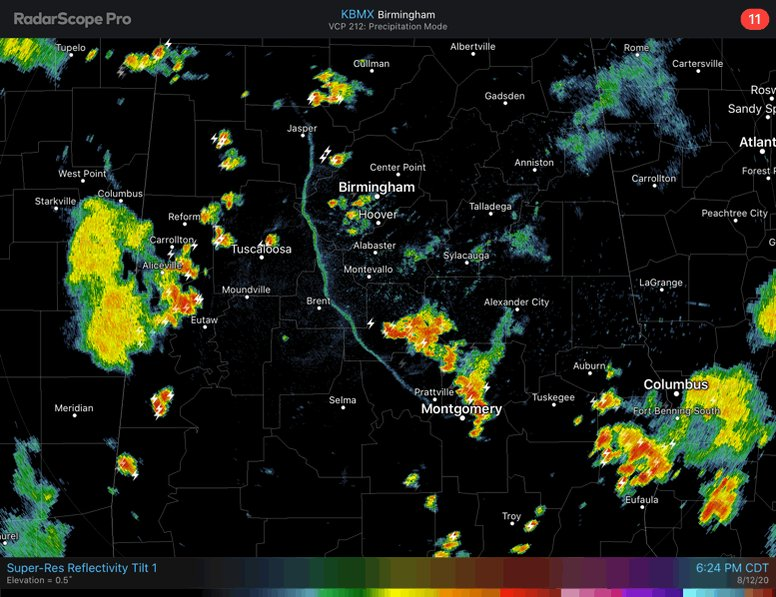 Storms are now concentrated over the southern & western portions of Central AL. Isolated wind gusts of 40-60 mph & small hail remain possible. Heavy rainfall + slow movement of the storms could lead to ponding of water on some roadways. #alwx
