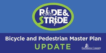#SRQCounty is updating its Bicycle and Pedestrian Master Plan. Help us decide where to make improvements via this quick online survey . If you couldn't attend the Aug, 4 virtual session, watch it now:
