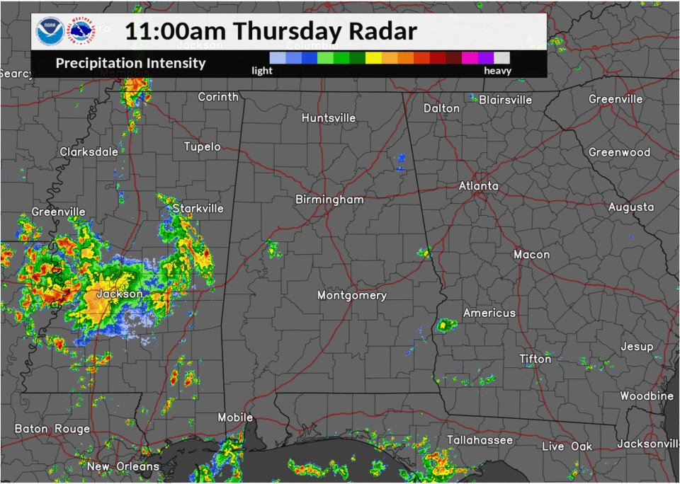 Radar view just before 1pm: Showers and a few storms out there, becoming more numerous as we go later into the afternoon. #alwx