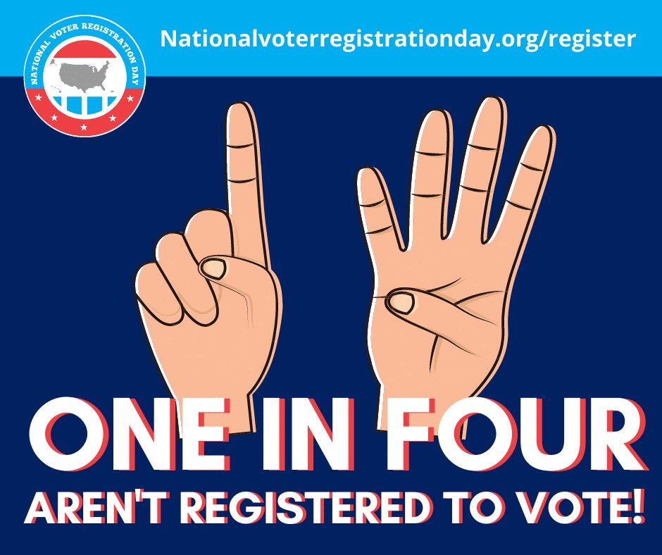 Did you know 1 in 4 people aren't registered to vote! We're sure you'll agree with us when we say that number is TOO HIGH. If you are not yet registered, what are you waiting for? It only takes two-minutes! Visit  and get #VoteReady TODAY!