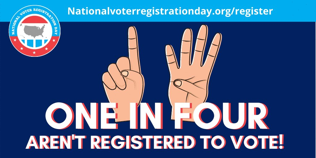 Did you know one in four people are not registered to vote? Get registered today at the Kankakee Public Library where direct assistance will be available from 1:00 p.m. – 3:00 p.m. or visit . #NationalVoterRegistrationDay #VoteReady