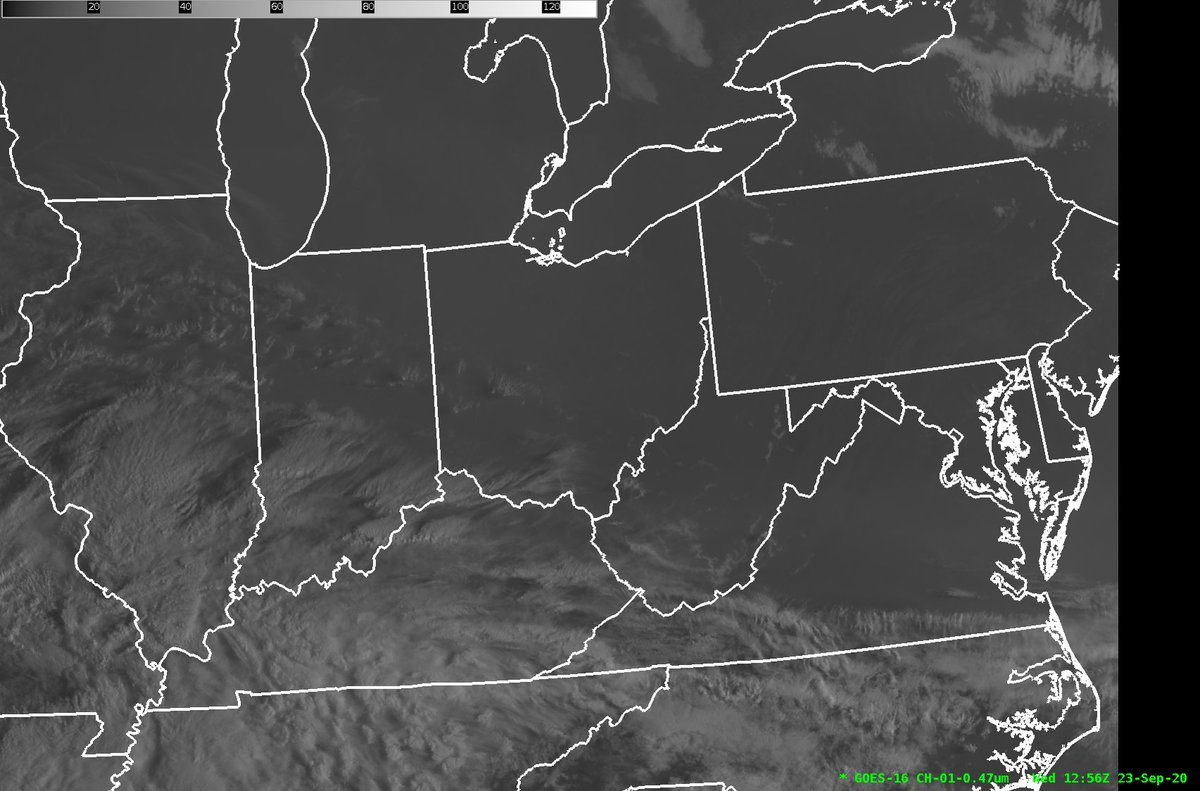 A loop of the latest satellite imagery shows a good deal of sunshine over most of Ohio.  Clouds will spill into the area this afternoon into tonight but any moisture and precipitation will stay to the south. Temperatures will be warm with highs in the upper 70s to around 80.