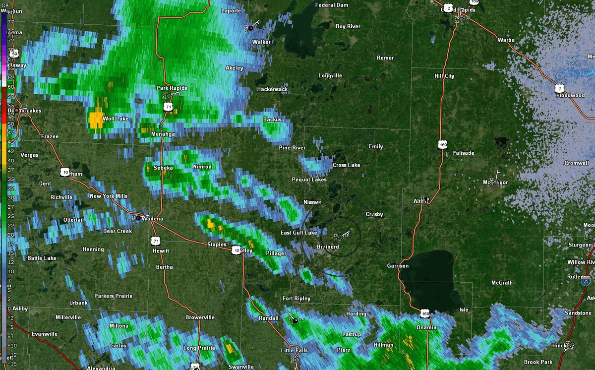 A couple of storms brewing over near the Brainerd Lakes area. #mnwx