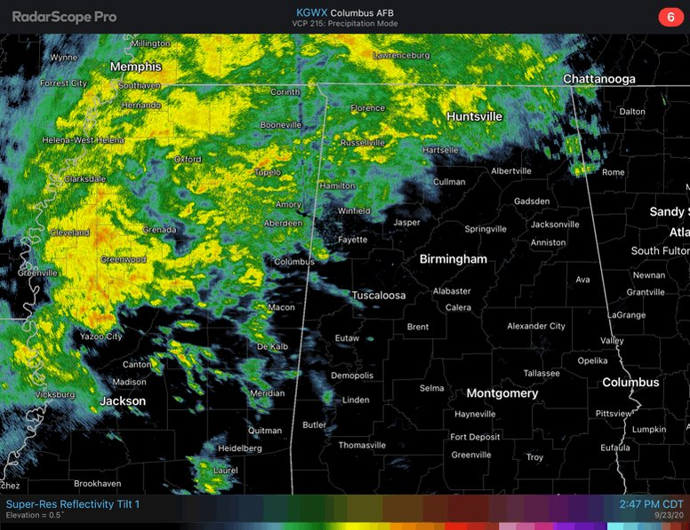 """The rain has arrived! It will slowly spread from W to E through tomorrow. Folks in the NW (Pickens Co to Walker Co & NW) will see the highest totals, generally 2""""-4,"""" and those south of I-20 will likely get less than 1"""" of rain. #alwx"""