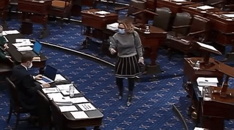 Actual video of Senator Sinema voting no to the minimum wage amendment:
