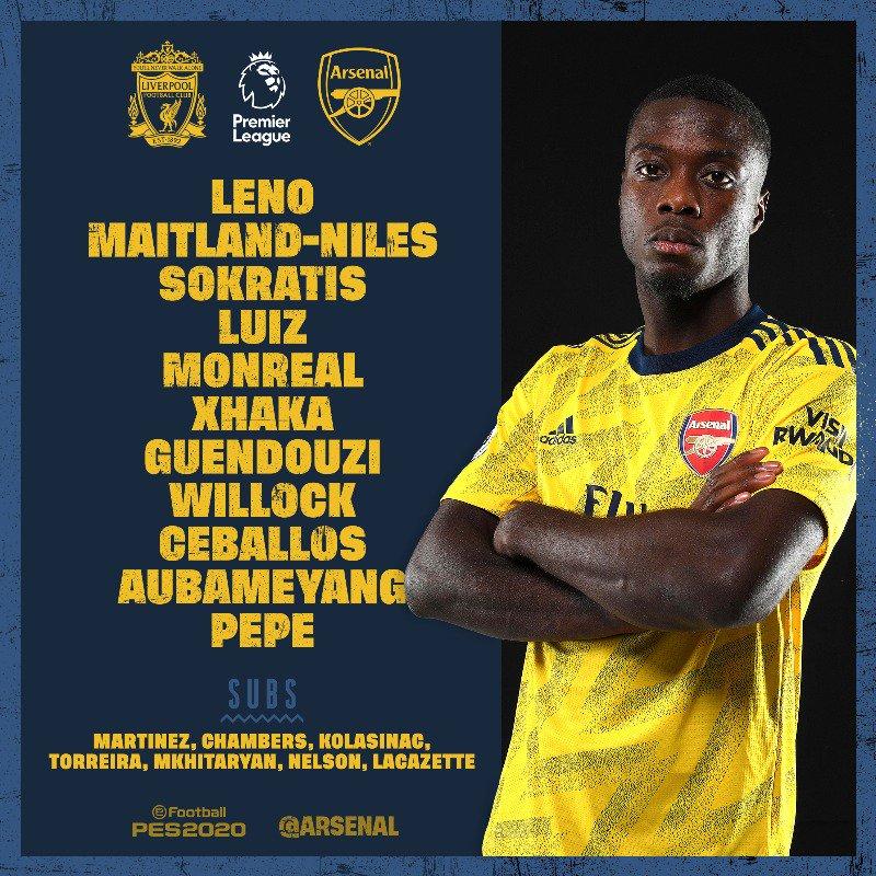 Starting XI Arsenal