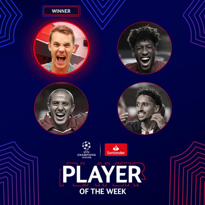 Нойер — лучший игрок недели в Лиге чемпионов