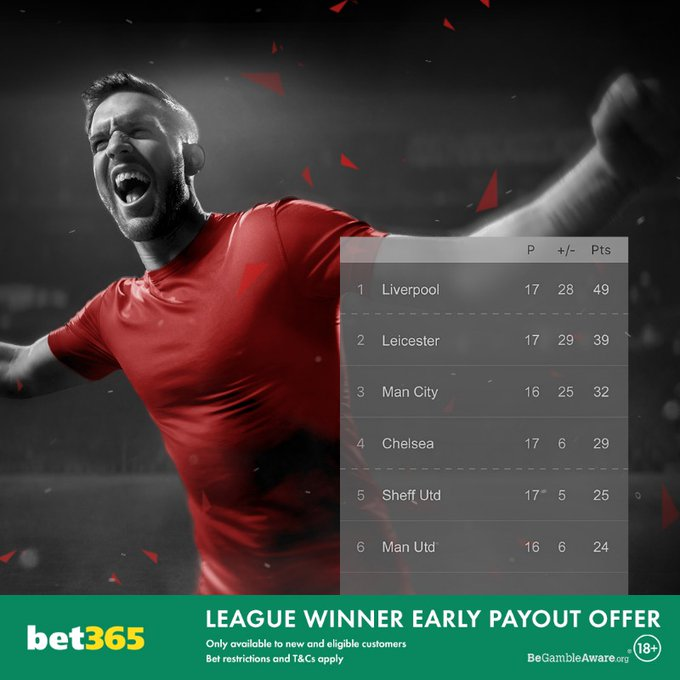 bet365 league winner early payout