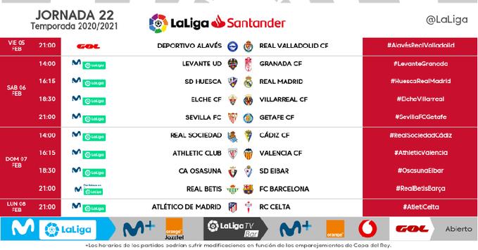 Horarios definitivos de la jornada 22 en LaLiga Santander.