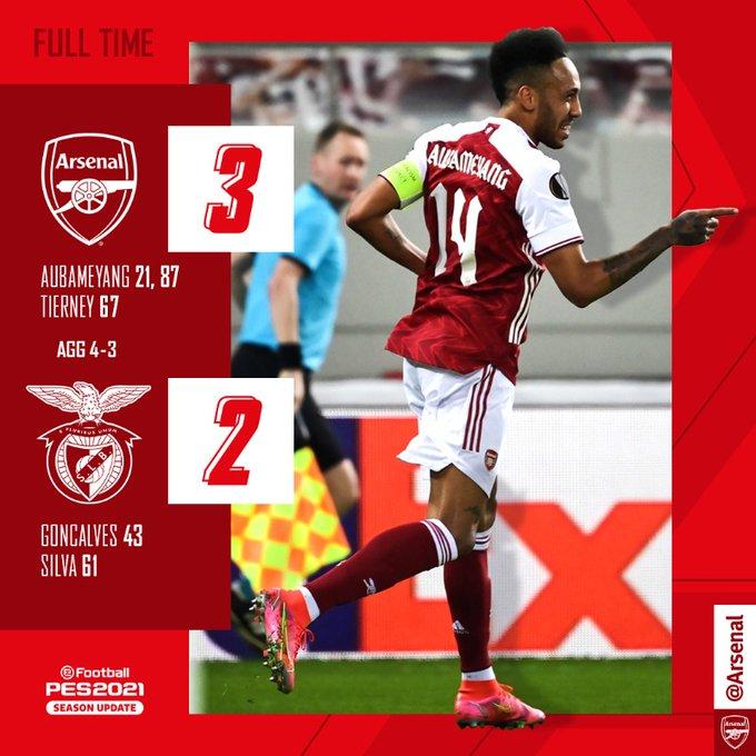 Skor akhir Arsenal vs Benfica
